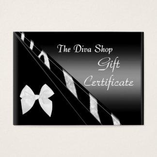 Gift Certificate Card Elegant White Black Zebra
