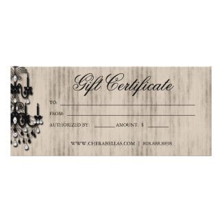 Gift Certificate Chandelier Nail Hair Salon Rack Cards