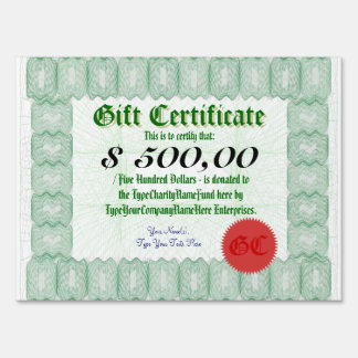 Gift Certificate Donation Large Presentation Check Yard Signs