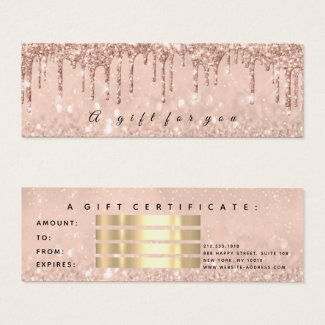Gift Certificate Drips Rose Gold Makeup Small