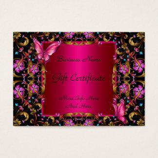 Gift Certificate Elegant Floral Gold Pink Black