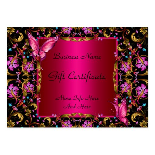 Gift Certificate Elegant Floral Gold Pink Black Business Card Template
