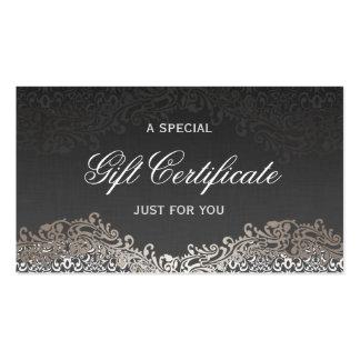 Gift Certificate - Elegant Vintage Silver Damask Business Card