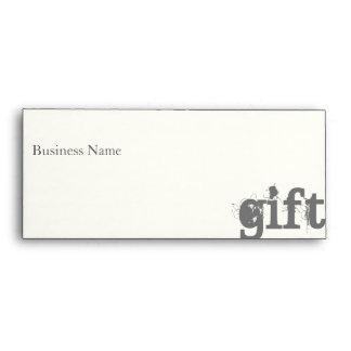 Gift Certificate Envelope--Cream/Charcoal Envelope