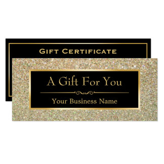 Gift Certificate Fashionable Gold Glitter Sparkles Card