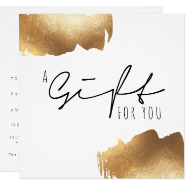 Professional Business GIFT CERTIFICATE | Gold Brush Minimalist Card