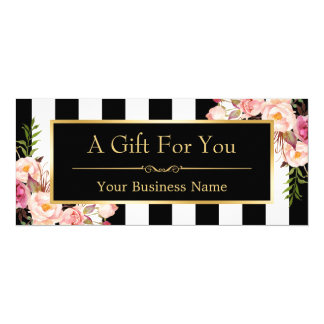 Gift Certificate Gold Floral Black & White Stripes Card
