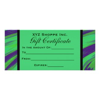 Gift Certificate Green Blue Color Swish