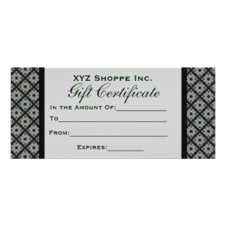 Gift Certificate Grey Pattern Personalized Rack Card