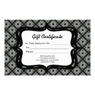 Gift Certificate Grey Pattern Stationery