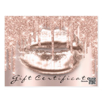 Gift Certificate Lashes Kiss LIps Makeup Glam Postcard
