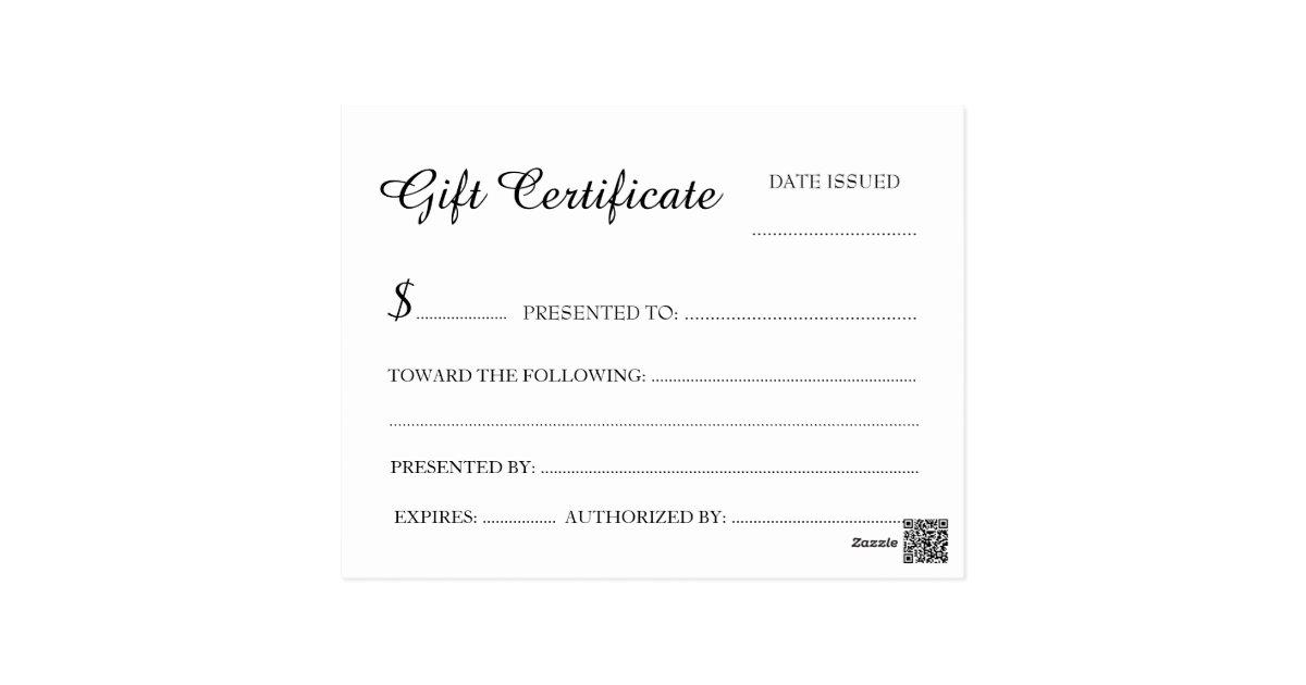 Gift Certificate Postcard Size | Zazzle