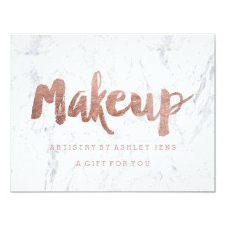 Gift certificate rose gold makeup script marble card