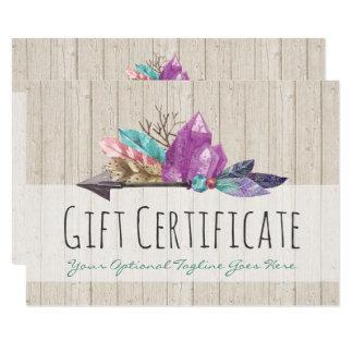 Gift Certificate Rustic Bohemian Crystals & Arrow Card