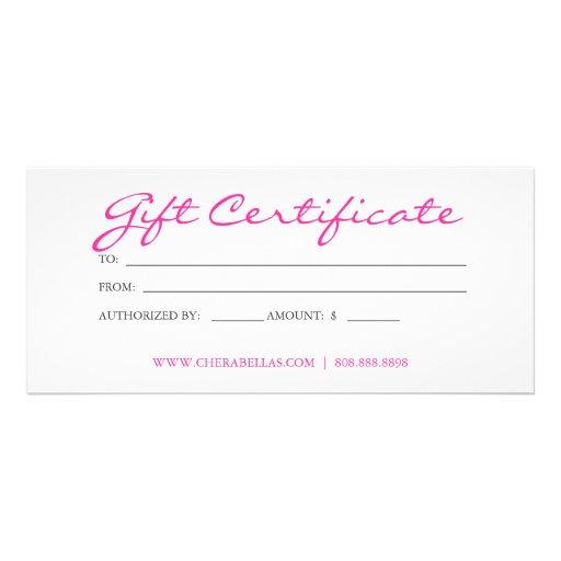 Gift Certificate Tanning Salon Pink Bikini Woman Rack Card ...