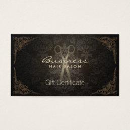 Gift Certificate Vintage Damask Hair Stylist
