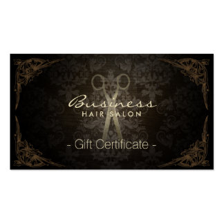 Gift Certificate Vintage Damask Hair Stylist Business Card