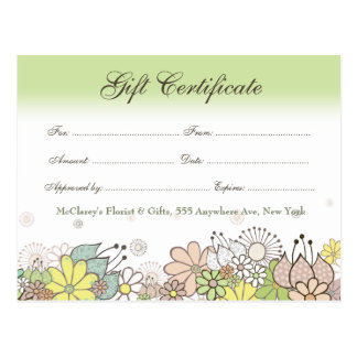 Gift Certificate Voucher Store Business Card