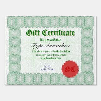 Gift Certificate Winner Big Presentation Check Sign
