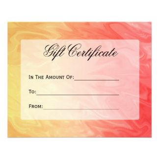 Gift Certificate Yellow Red Texture Flyer