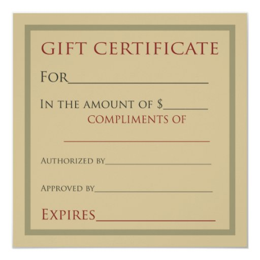 Gift certificates for businesses card zazzle for Zazzle gift certificate
