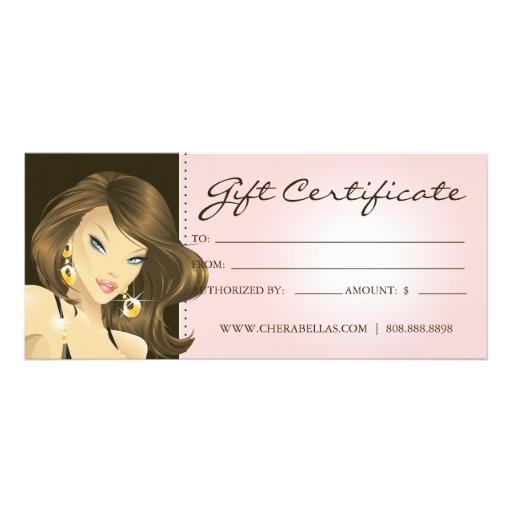 gift certificates hair salon pretty woman pink rack card