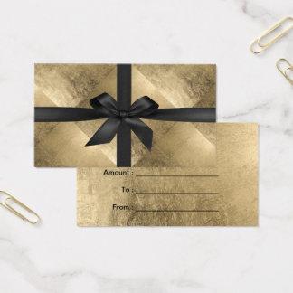 Gift Certificates Modern Black Ribbon Gold Foil
