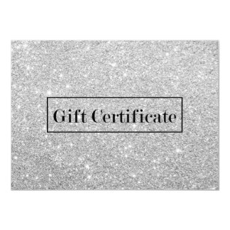 Gift Certificates Modern Silver Glitter Salon Spa Card