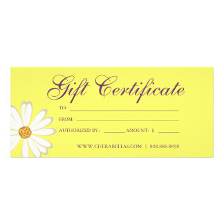 Gift Certificates Salon Daisy Flower yellow purple