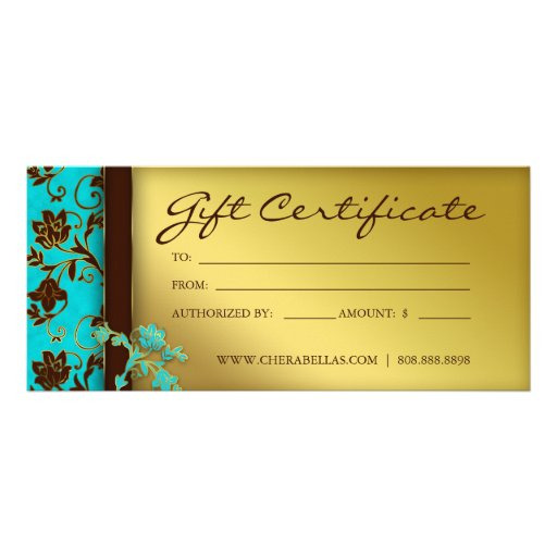 Gift certificates salon spa gold floral rack card template for Salon gift certificates templates