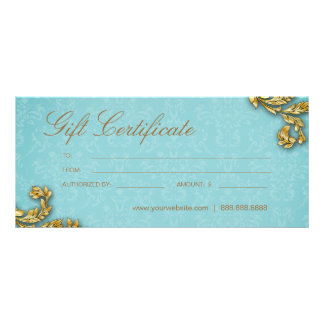 Gift Certificates Salon Spa Gold Leaf Blue