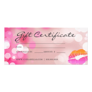 Gift Certificates Salon Spa Pink Lips & Lights Customized Rack Card