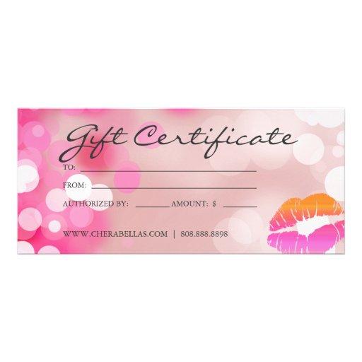 Gift Certificates Salon Spa Pink Lips & Lights Customized Rack Card ...