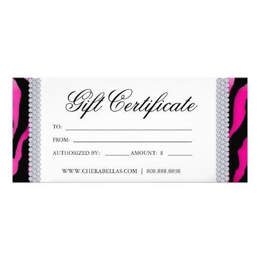 Gift Certificates Tanning Salon Jewelry Pink Black Custom Rack Cards ...