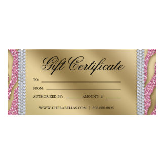 Gift Certificates Tanning Salon Jewelry Pink Gold Custom Rack Card
