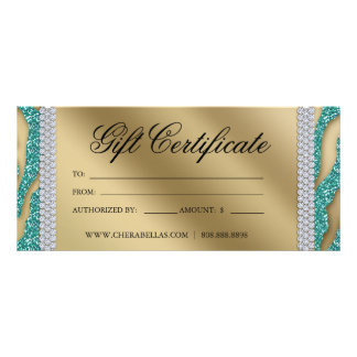 Gift Certificates Tanning Salon Jewelry Teal Gold Custom Rack Card