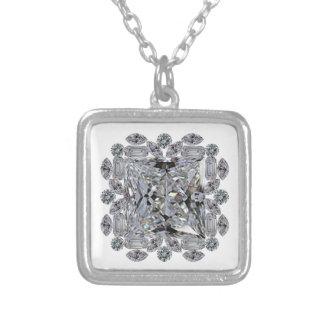 Gift Diamond Brooch Square Pendant Necklace