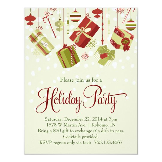 Gift Exchange Holiday Christmas Party Invitation | Zazzle.com