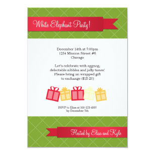 Christmas Gift Exchange Poem.Red And Green Secret Santa Invitations Zazzle