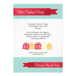 Gift exchange red ribbon ice blue Christmas party Personalized Invite