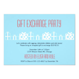 Gift exchange Yankee swap red blue Christmas party Card