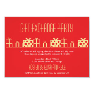 White elephant exchange invitations announcements zazzle gift exchange yankee swap red gold christmas party card negle Choice Image