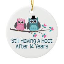 Gift For 14th Wedding Anniversary Hoot Ceramic Ornament