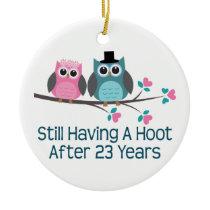 Gift For 23rd Wedding Anniversary Hoot Ceramic Ornament