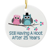 Gift For 25th Wedding Anniversary Hoot Ceramic Ornament