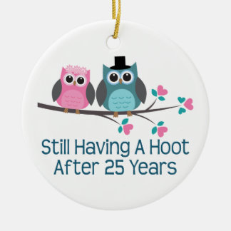 Gift For 25th Wedding Anniversary Hoot Double-Sided Ceramic Round Christmas Ornament