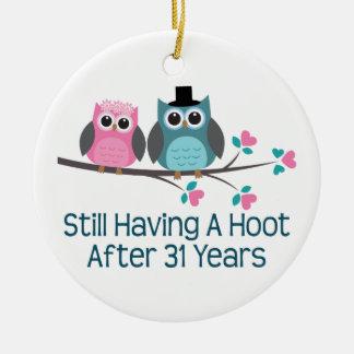 Gift For 31st Wedding Anniversary Hoot Christmas Tree Ornaments