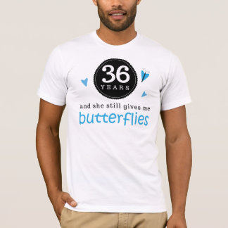 Gift For 36th Wedding Anniversary Butterfly T-Shirt