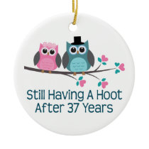 Gift For 37th Wedding Anniversary Hoot Ceramic Ornament