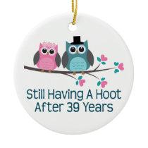 Gift For 39th Wedding Anniversary Hoot Ceramic Ornament